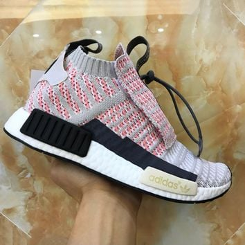 Adidas NMD Knit High Tops Pink Double tongue Fashion Trending Running Sports Shoes