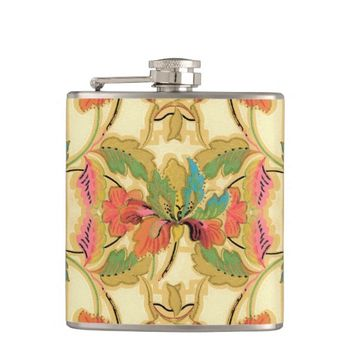 Vintage Turquoise Orange Floral Wallpaper Pattern Flasks