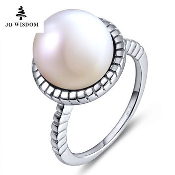 JO WISDOM 100% 925 Silver Ring for Women Wedding Ring with Freshwater Pearl  for Christmas Gift