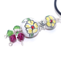 Ceramic Charm Necklace – Floral Pendant Leather Cord Necklace – Short Charm Choker  - Colorful Jewelry – Valentines Day Gift