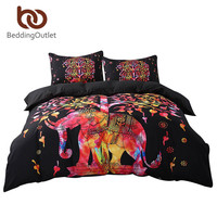 BeddingOutlet Black Bedding Set Black and Red Boho Duvet Cover and Pillowcase Indian Style Print Exotic Bedclothes Multi Sizes