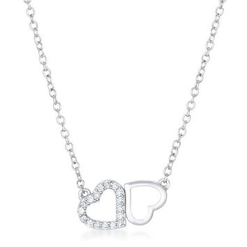 Amelia Necklace - Women's Rhodium Plated And Clear CZ Heart Shaped Necklace