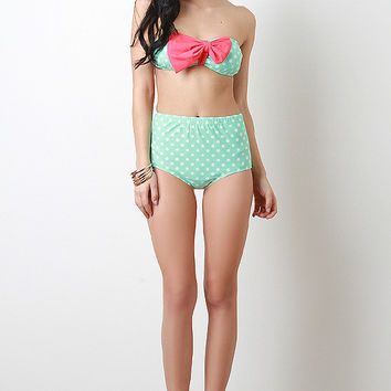 Polka Dot And Bow Bikini Set