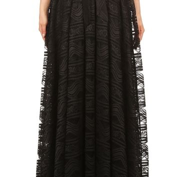 Poppi Pleated Lace Maxi Skirt