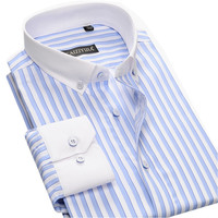 New Fashion White Collar Button-down Mens Striped Dress Shirts Long Sleeve Slim Fit Cotton Social Male Casual Business Shirts
