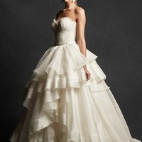 Isabelle Armstrong 'Ingrid' Strapless Lace & Tiered Organza Ballgown (In Stores Only) | Nordstrom
