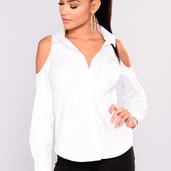 What A Boss Cold Shoulder Button Top - Off White