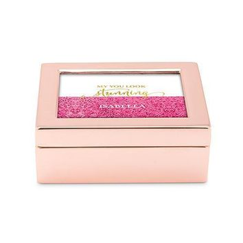 Small Modern Personalized Jewelry Box - Glitter Foil Print Rose Gold Gold (Pack of 1)