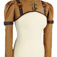 The Stardust Bolero Short Faux Leather Caramel Brown Steampunk Shrug Jacket