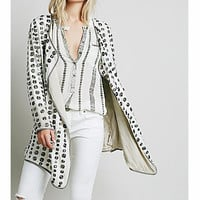 DOT LONG-SLEEVED KNIT CARDIGAN JACKET