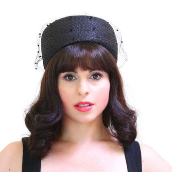 Vintage Black Pillbox Fascinator Hat - 1960s Veil Fashion Accessory with Felt Balls / Top Bow