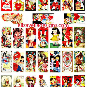 "vintage Valentines cards clip art digital download collage sheet 1""x2"" inch squares graphics images printables for pendants pins magnets"