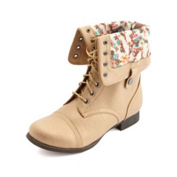 GOLDEN METALLIC FOLD-OVER LACE-UP COMBAT BOOTS