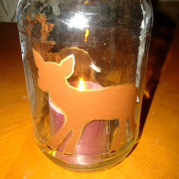 Reclaimed Upcycled Large Glass Jar Hurricane Lamp with Handpainted Doe and Buck Birch Trees Fall Table Decor Gift for Him or Her