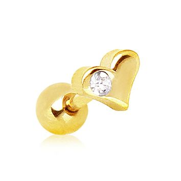 Gold Plated Heart Cartilage Earring with Clear Gem