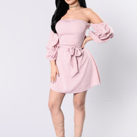 I've Got A Crush Dress - Dusty Pink
