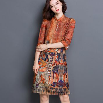 Ethnic silk dresses women  Egyptian character print dress plus size 3XL