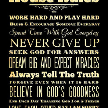 Family Rules / House Rules / Subway Roll / Typography Art Poster 18X24 - Wall Art Decoration -  LHA-294