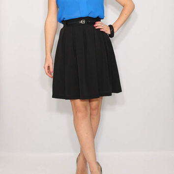 Short black skirt High waisted skater skirt with pockets Pleated skirt