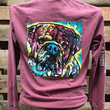 Backwoods Watercolor Dog Bulldog Bright Unisex Comfort Colors Long Sleeve T Shirt