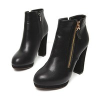 Two-Sided Zipper Ankle Boots by Stylenanda