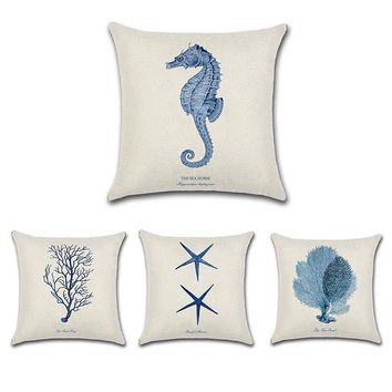 1pc Sea Horse Pattern Linen Blend Throw Pillow Cushion Covers Custom Pillows Case Bed Sofa Decorative Gift  7A0271