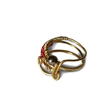 Red and Gold Wire Wrapped  Ring