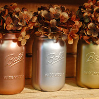 Industrial Metals collection of QUART size painted mason jar set