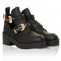 Black & Gold Leather Look Flat Buckled Shoe Boot -  from Lavish Alice UK