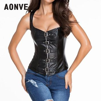 AONVE Steampunk Corset Faux Leather Corsets Bustiers Slimming Black Sexy Girdles Shapewear Punk Rave Zippered Corset S-6XL