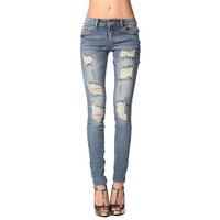 Skinny jeans with extreme front rips