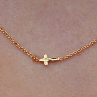 Lovely Gold Sideways Cross Necklace - Gold