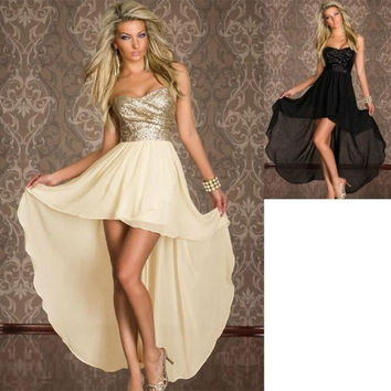Popoo Women  Sexy Dress  Fashion Tail Strapless Nightclubs Sexy Dress  Club Wear 2 Colors M L Dresses XGNY011 = 1931572420