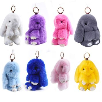 Cute Simulation Rabbit Fur Hanging Pendant Rabbit Keychain Fashion fur pom pom key-chain Rabbit Toy Doll Birthday Gift Doll
