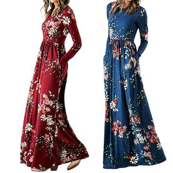 Women's Floral Print Long Sleeve Pockets Empire Waist Pleated Long Maxi Dresses
