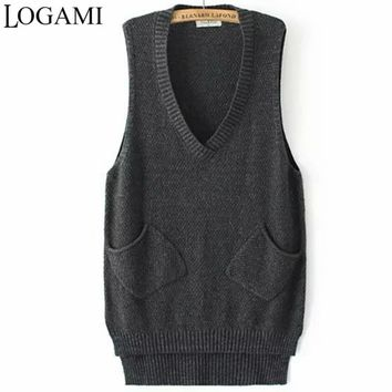 LOGAMI V Neck Long Vest Knitted Women Sweaters And Pullovers Woman Sleeveless Casual Pocket Sweater Pull Femme