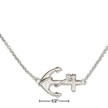 """Sterling Silver 16""""-18"""" Adjustable Sideways Anchor Necklace With Cubic Zirconia Accent"""