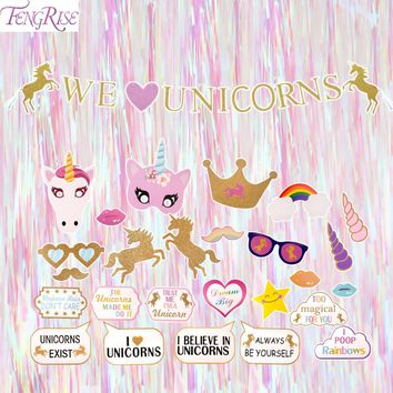 FENGRISE Unicorn Party Set Photo Booth Props We Love Unicorns Banner Multi Foil Fringe Tinsel Baby Shower Birthday Party Decor