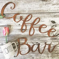 "Rusted Metal ""Coffee Bar"" Script Sign"