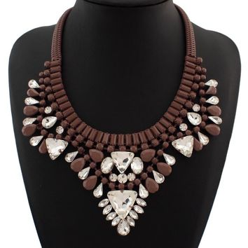 Bohemia Style Spray Paint Snake Chain Resins Beads Clear Crystal Statement Necklace