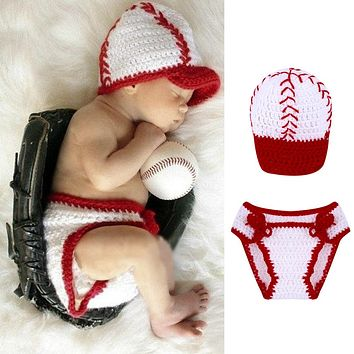 Red Handmade Newborn Baseball Caps Infant Knitted Beanies Baby Prop Crochet Hats Newborn Photography Accessories