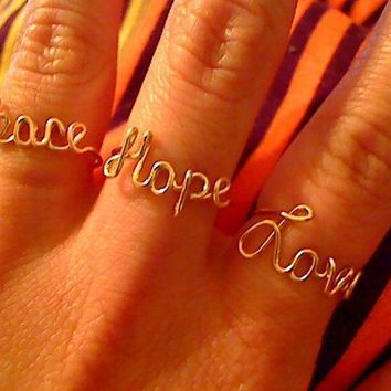Adjustable 14 Karat Gold Filled Peace Love and by WireNameMike