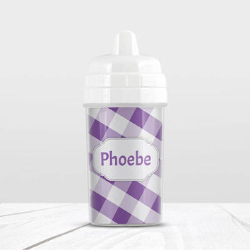 Purple Gingham Personalized Sippy Cup - White Purple Gingham Pattern with Name - 10oz BPA Free - Made to Order
