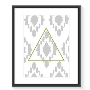 Lime Green Triangle and Grey Tribal Print - Printable Wall Art - Digital Wall Print - Home Decor
