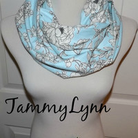 NEW!! Winter Blue Cotton Flannel Ivory Floral Infinity Scarf Lightweight Double Loop Scarf Women's Accessories