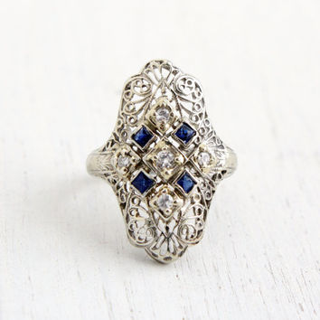 Antique 18K White Gold Diamond & Sapphire Shield Ring - Vintage Art Deco 1930s Size 5 Lacy Filigree Fine Jewelry