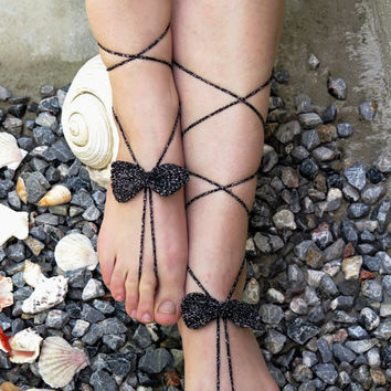 Crochet Barefoot Sandals Bow, Black silvery Nude shoes, Foot jewelry, Wedding, Yoga, Anklet , Belly Dance, Steampunk, Beach Pool, Seafoam