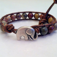 Good Luck Elephant, Red Picture Jasper Leather Wrap Bracelet, Chan Luu Style, Alabama, Valentine's Day
