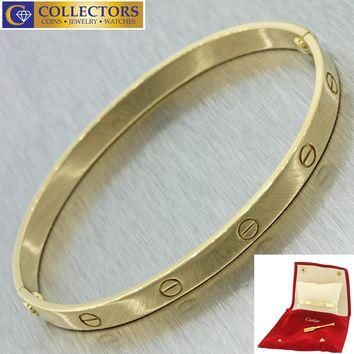 Authentic Designer Cartier 18K Yellow Gold New Style Love Bangle Bracelet w/Scre