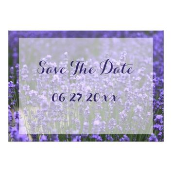 "Custom Purple Lavender Save The Date Cards 5"" X 7"" Invitation Card"